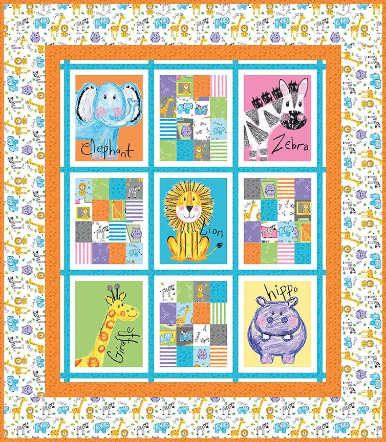 Colorful Friends Panel Quilt Fabric Kit (orange)