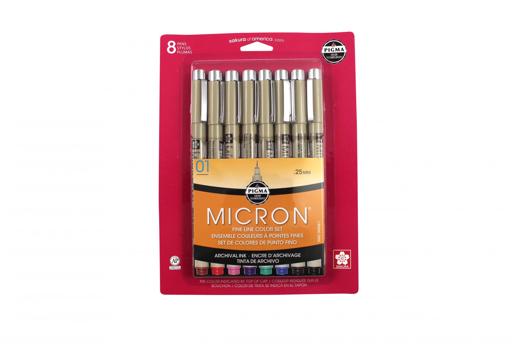 MICRON PEN 8PC SET (01)AST