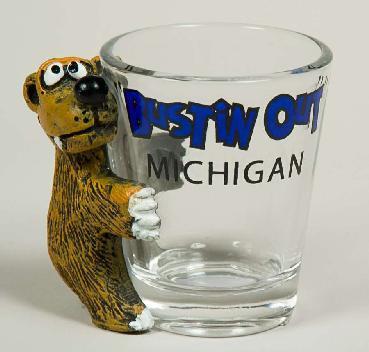 SHOT GLASS BEAR 'BUSTIN' OUT'