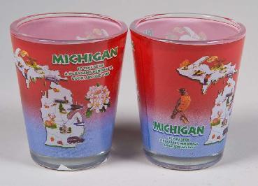 SHOT GLASS MICHIGAN MAP RED