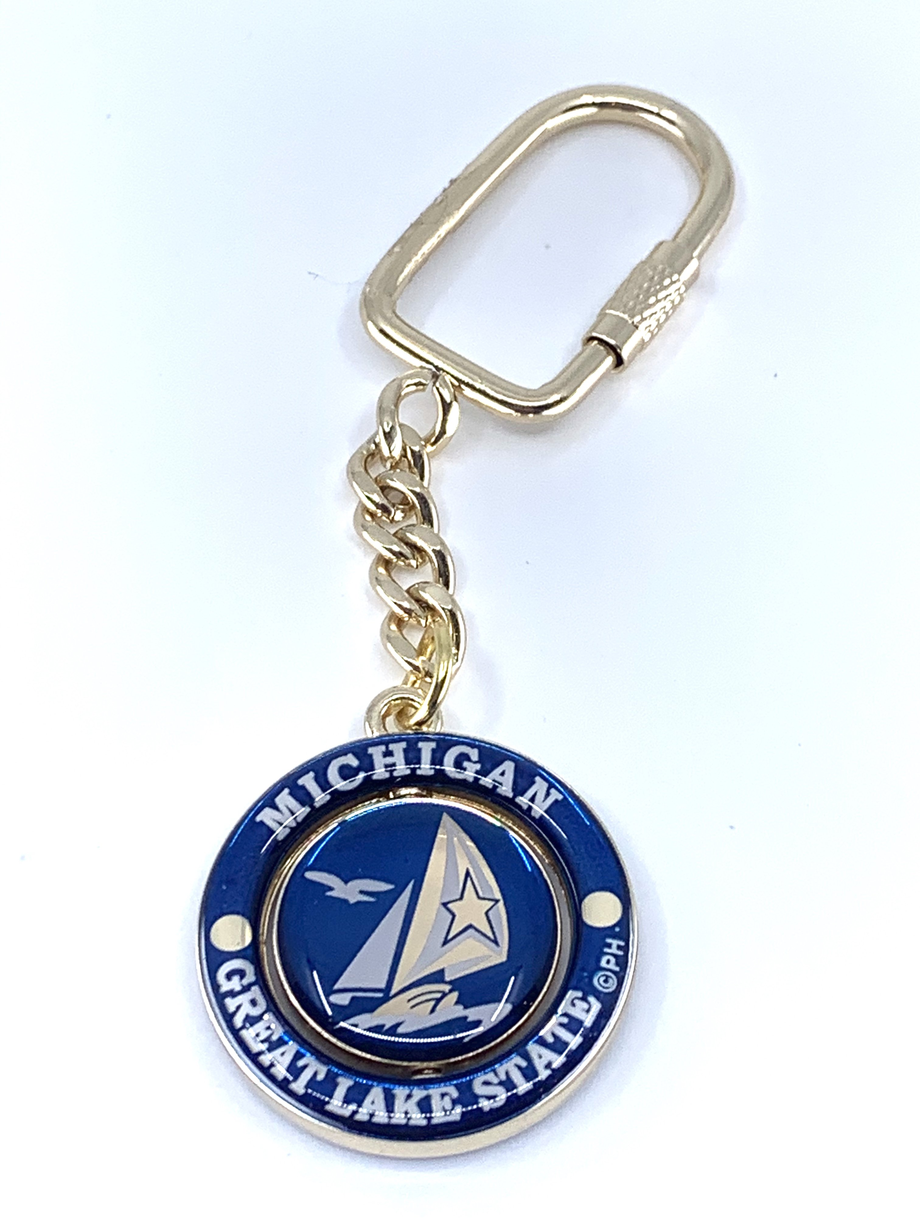 SPINNER GREAT LAKES STATE KEYCHAIN