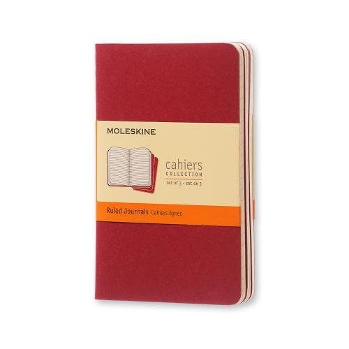 RULED CAHIER JOURNAL CRANBERRY RED POCKET
