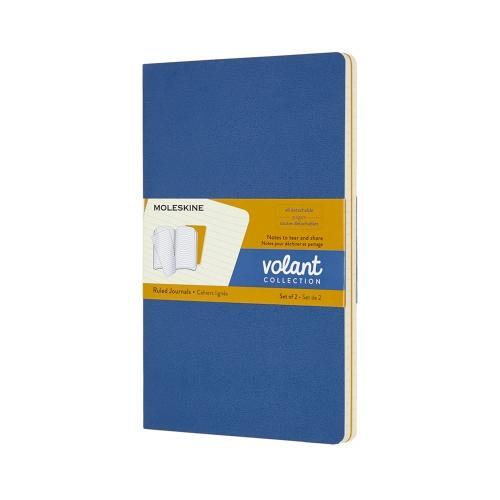 RULED VOLANT NOTEBOOK BLUE/AMBER POCKET