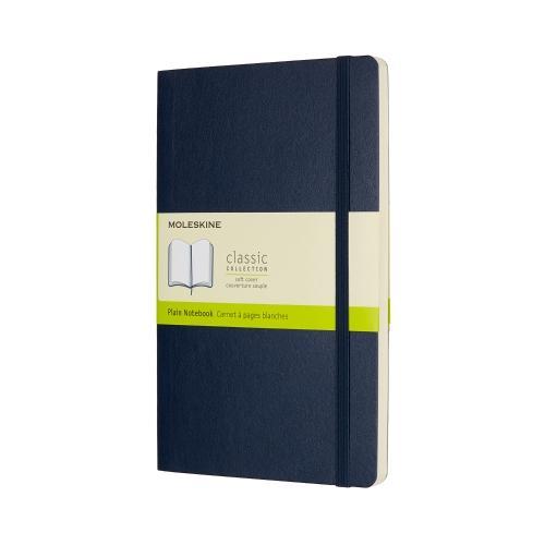 PLAIN SOFT COVER NOTEBOOK SAPPHIRE BLUE LARGE