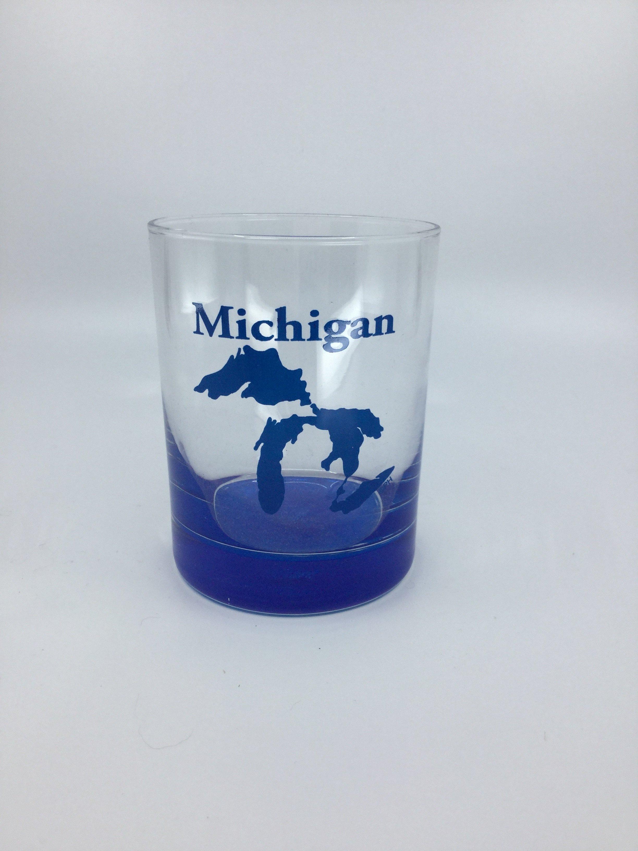 BLUE BOTTOM ROCKS GLASS MI