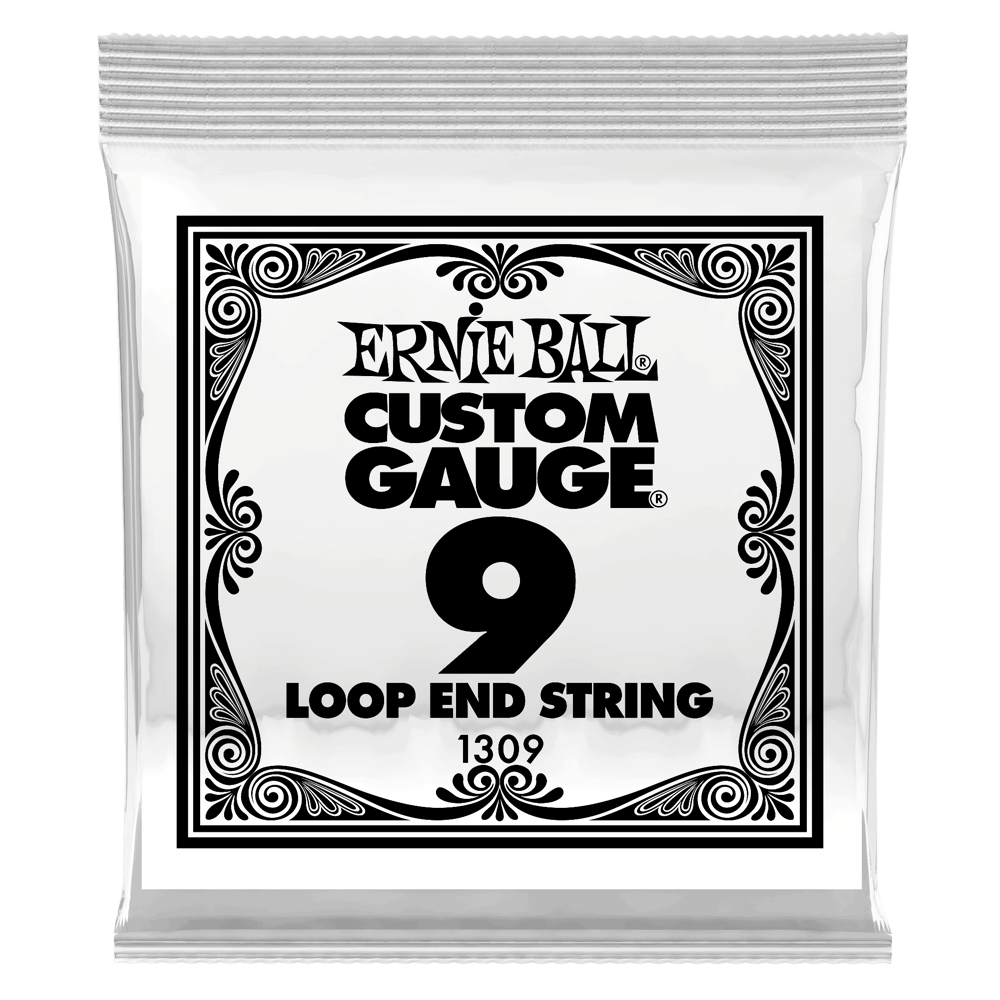 .009 Loop End Stainless Steel Plain Banjo or Mandolin Guitar Strings 6 Pack (1309)