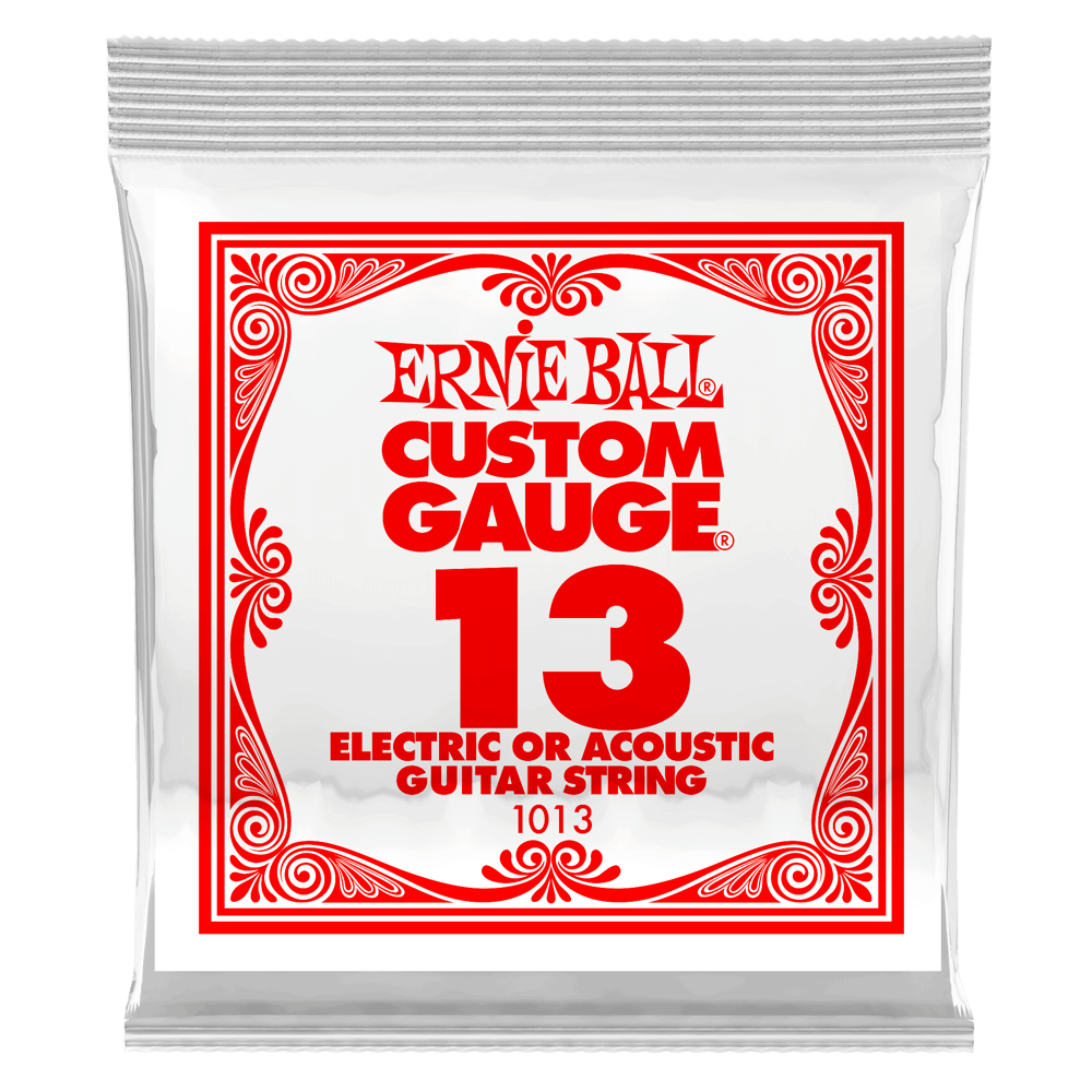 Ernie Ball .013 Plain Steel Electric or Acoustic Guitar Strings 6 Pack (1013)