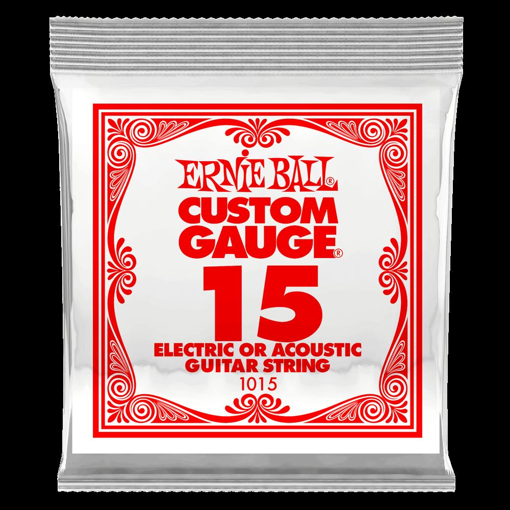 Ernie Ball .015 Plain Steel Electric or Acoustic Guitar Strings 6 Pack (1015)