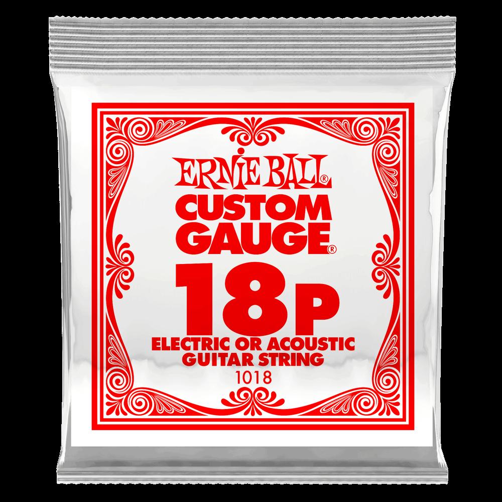 Ernie Ball .018 Plain Steel Electric or Acoustic Guitar Strings 6 Pack (1018)