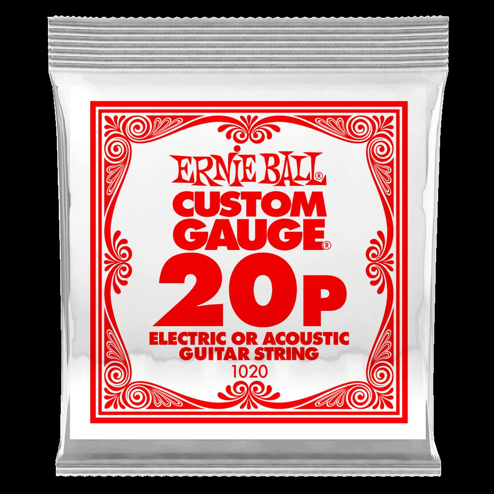 Ernie Ball .020 Plain Steel Electric or Acoustic Guitar Strings 6 Pack (1020)