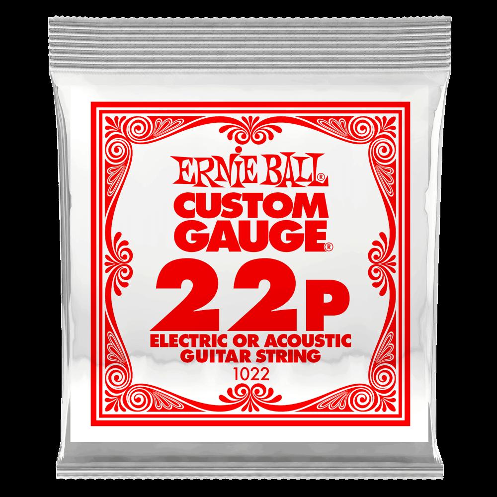Ernie Ball .022 Plain Steel Electric or Acoustic Guitar Strings 6 Pack (1022)