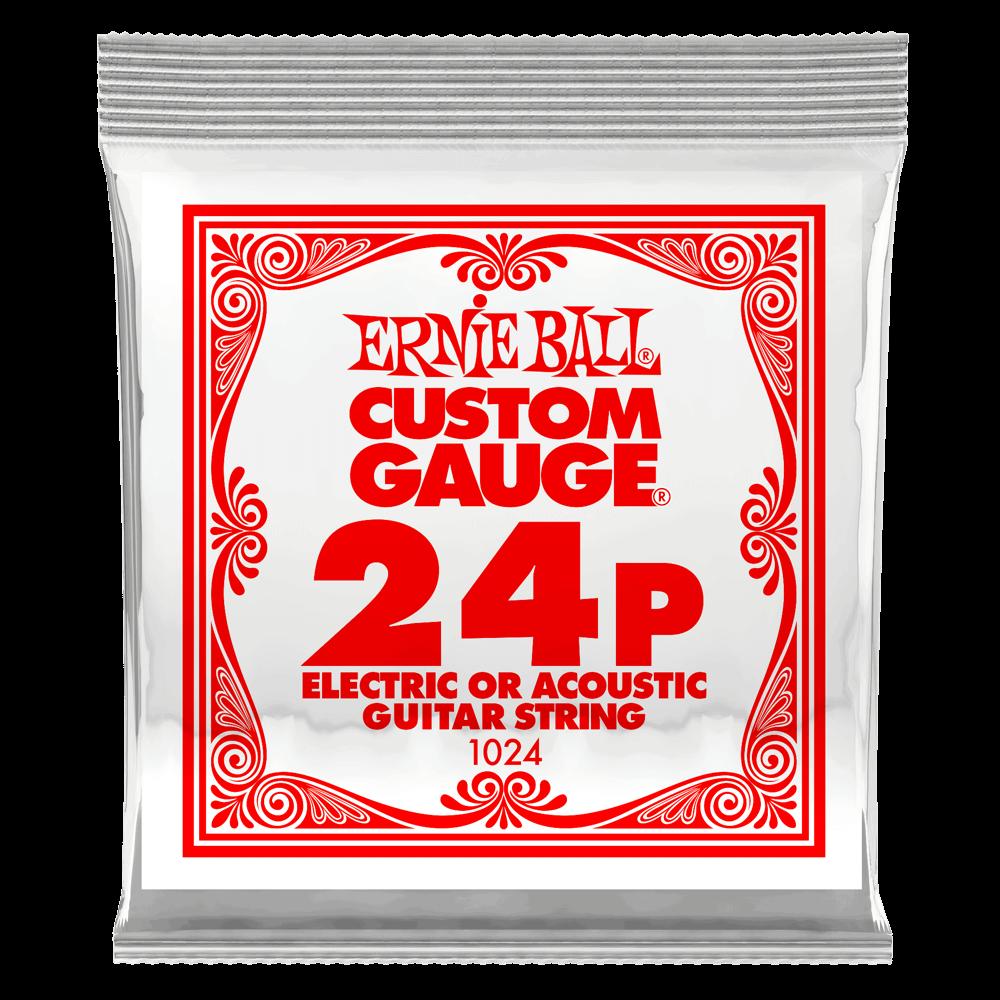 Ernie Ball .024 Plain Steel Electric or Acoustic Guitar Strings 6 Pack (1024)