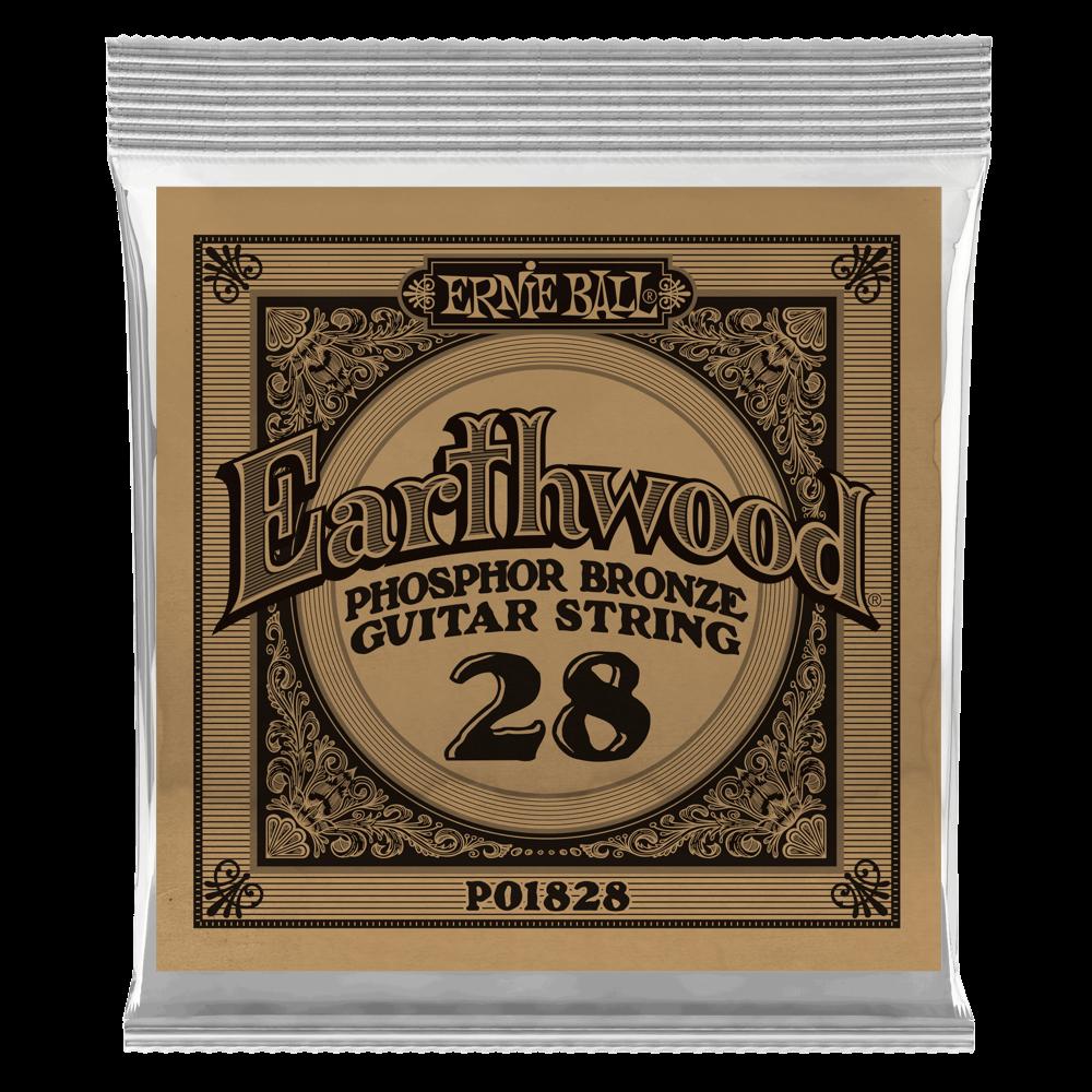 Ernie Ball .028 Earthwood Phosphor Bronze Acoustic Guitar Strings 6 Pack (1828)