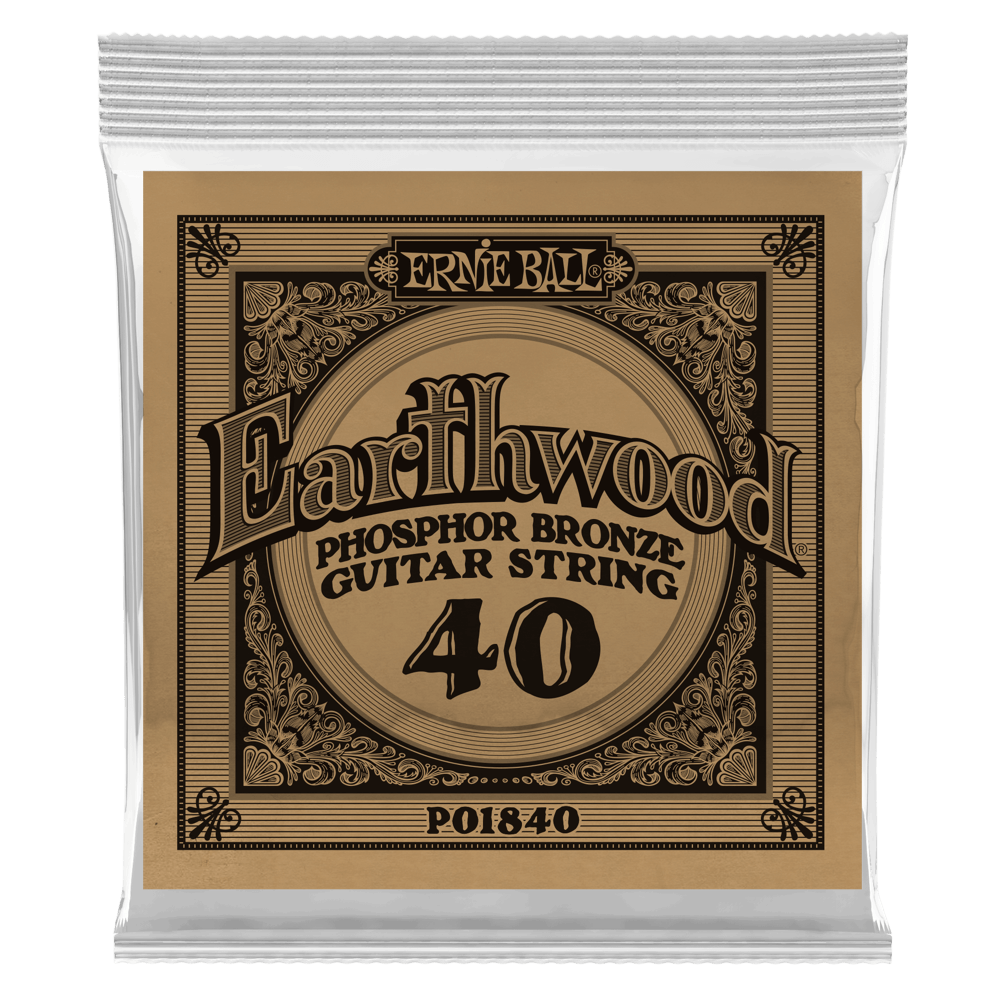 Ernie Ball .040 Earthwood Phosphor Bronze Acoustic Guitar Strings 6 Pack (1840)
