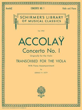 Accolay Concerto No. I for Viola and Piano