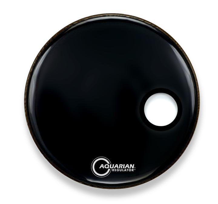 Aquarian 22 Regulator Black Bass Drum Head with Sound Hole