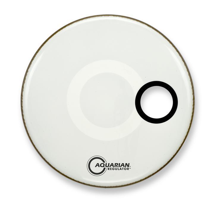 Aquarian 22 Regulator White Bass Drum Head with Sound Hole