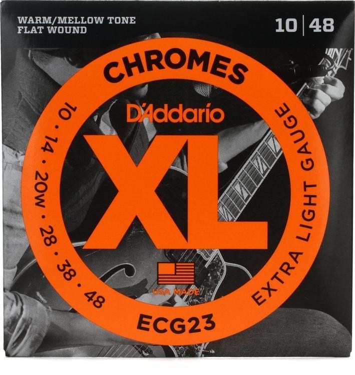 DAddario ECG23 Chrome Flatwound Electric Guitar Strings 10-48