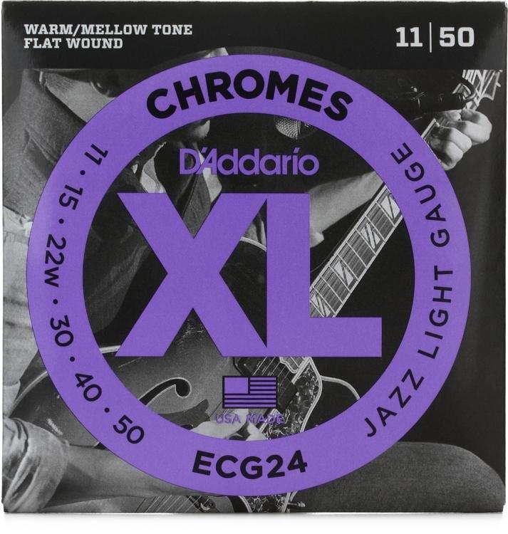 DAddario ECG24 Chrome Flatwound Electric Guitar Strings 11-50