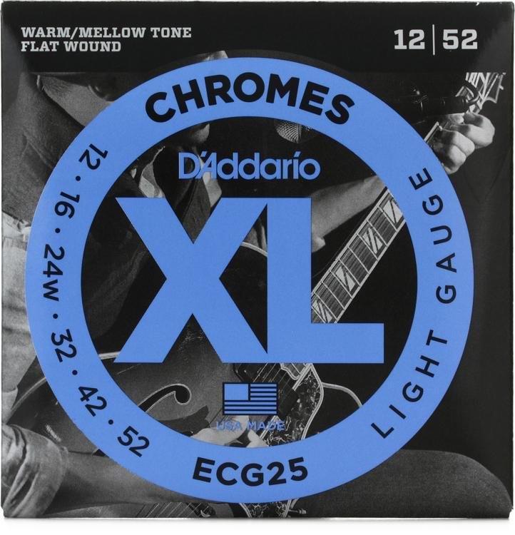 DAddario ECG25 Chrome Flatwound Electric Guitar Strings 12-52