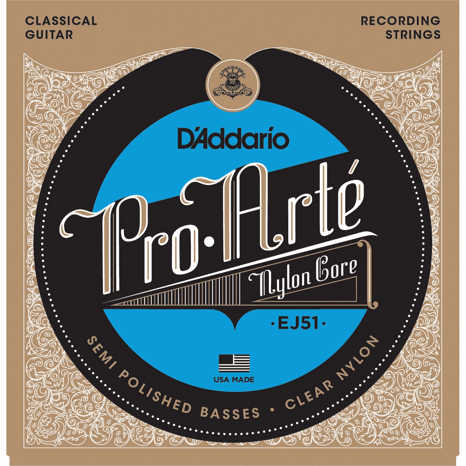 DAddario EJ51 Pro-Arte Classical Guitar Strings with Polished Basses Hard Tension