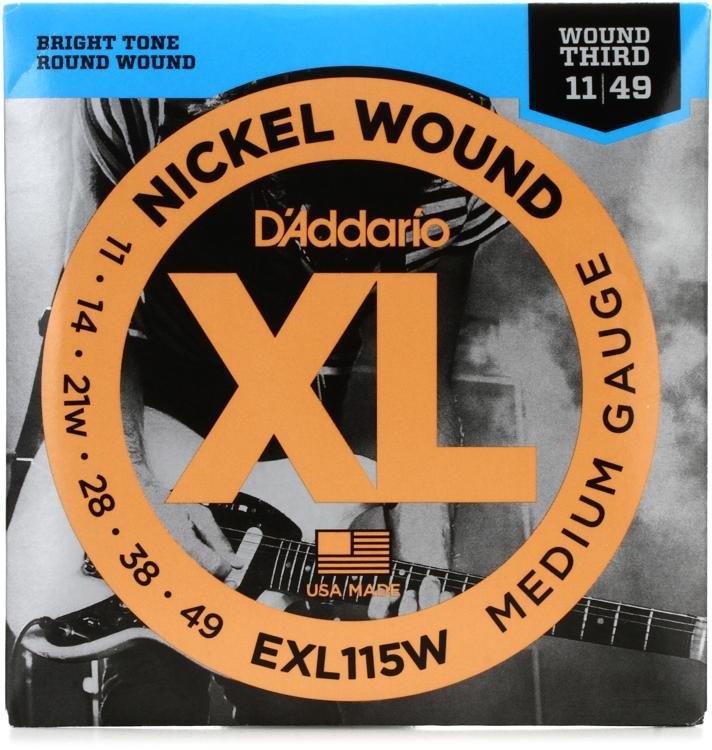 DAddario EXL115W Wound Third Electric Guitar Strings 11-49