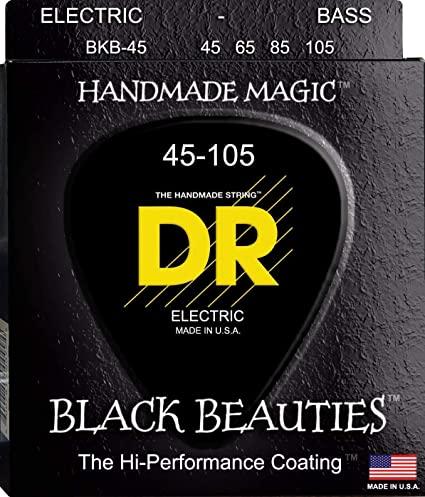 DR Strings Black Beauties Medium Electric Bass 4 String Set 45-105