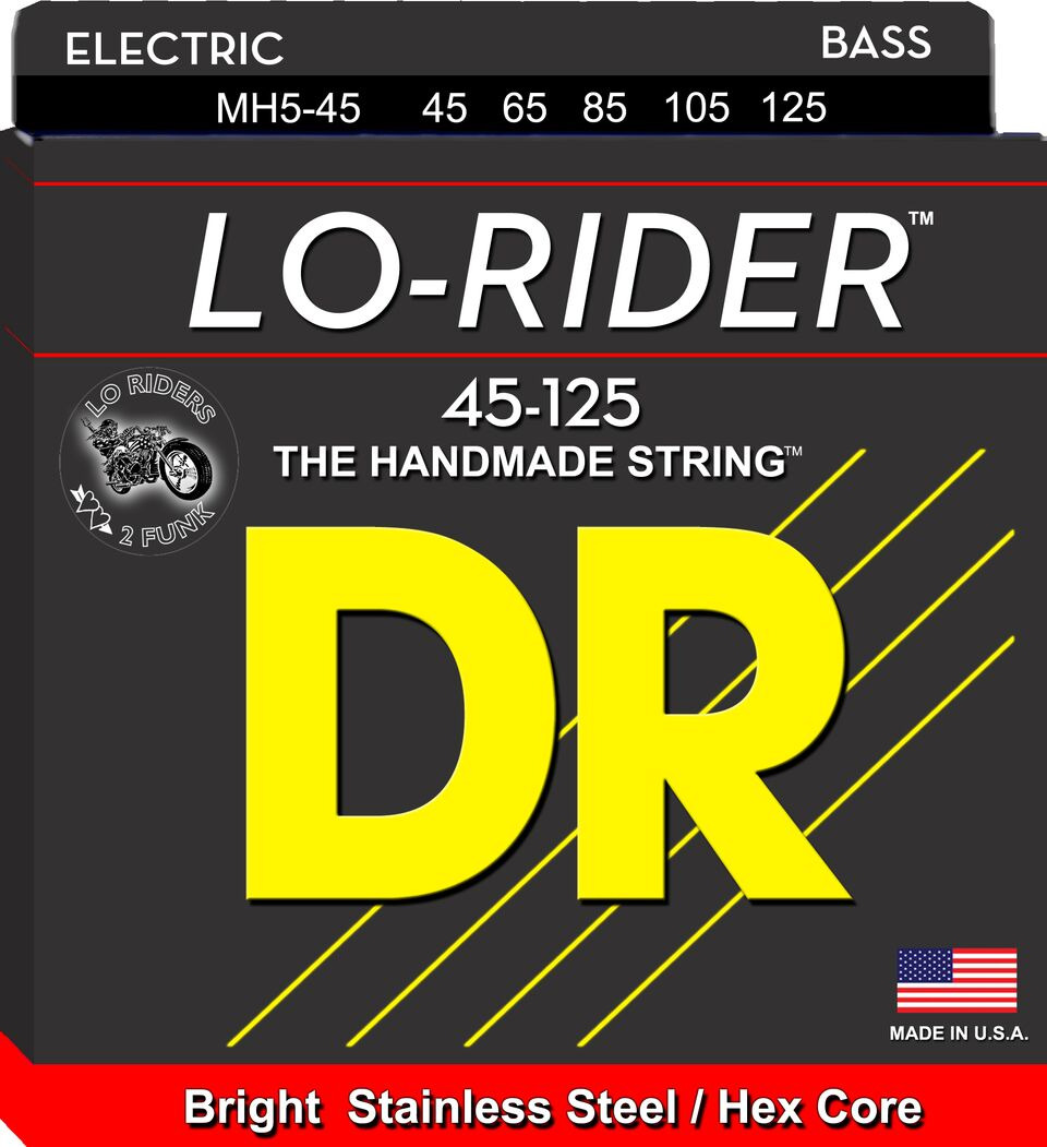DR Strings MH45 Lo-Rider 5-String Stainless Steel Bass Strings 45-125