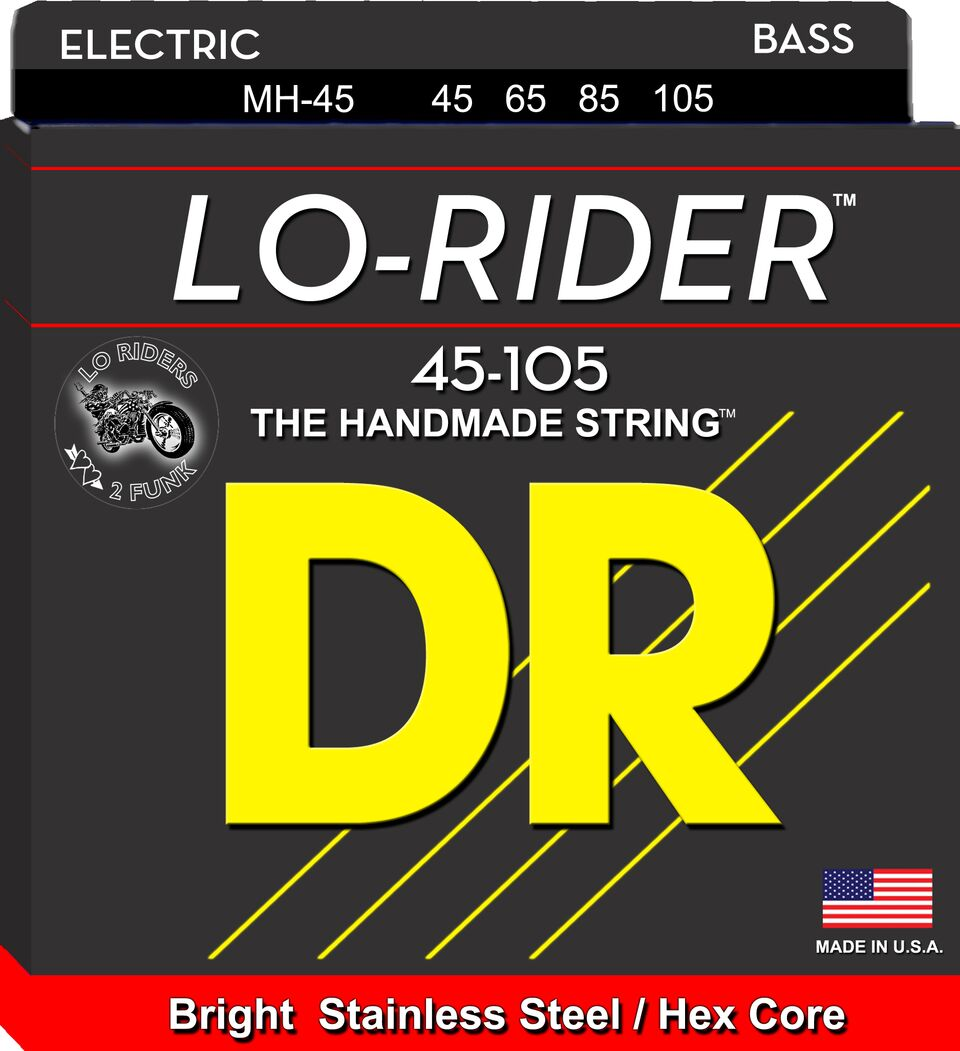 DR Strings MH45 Lo-Rider Stainless Steel Bass Strings 45-105