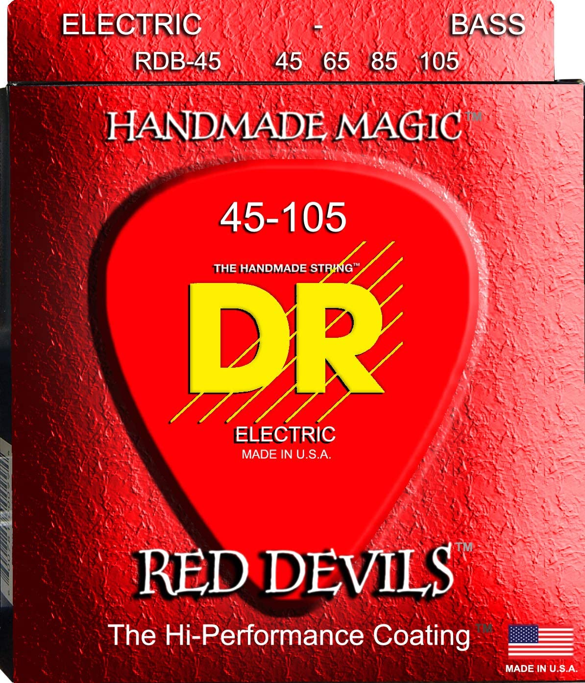 DR Strings Red Devils Extra-Life Red Coated Bass 45-105 Bass Guitar Strings