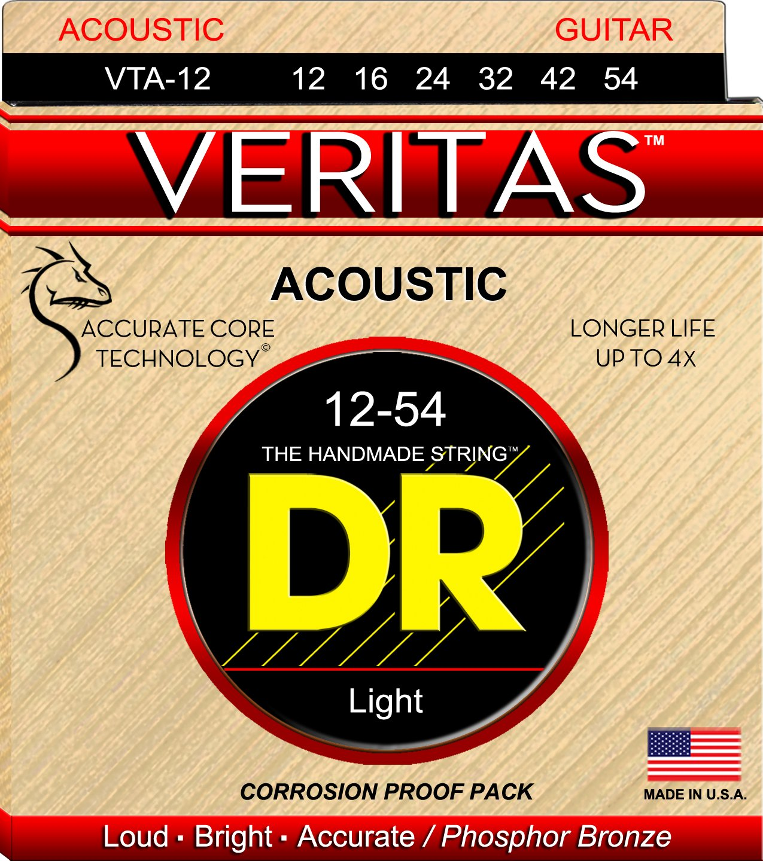 DR Strings VTA12 Veritas Phosphor Bronze Acoustic Guitar Strings 12-54