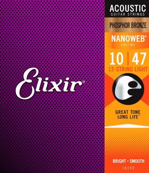 Elixir Nanoweb 12 String Light 10-47 Guitar Strings