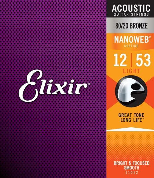 Elixir Nanoweb Light 80/20 12-56 Guitar Strings