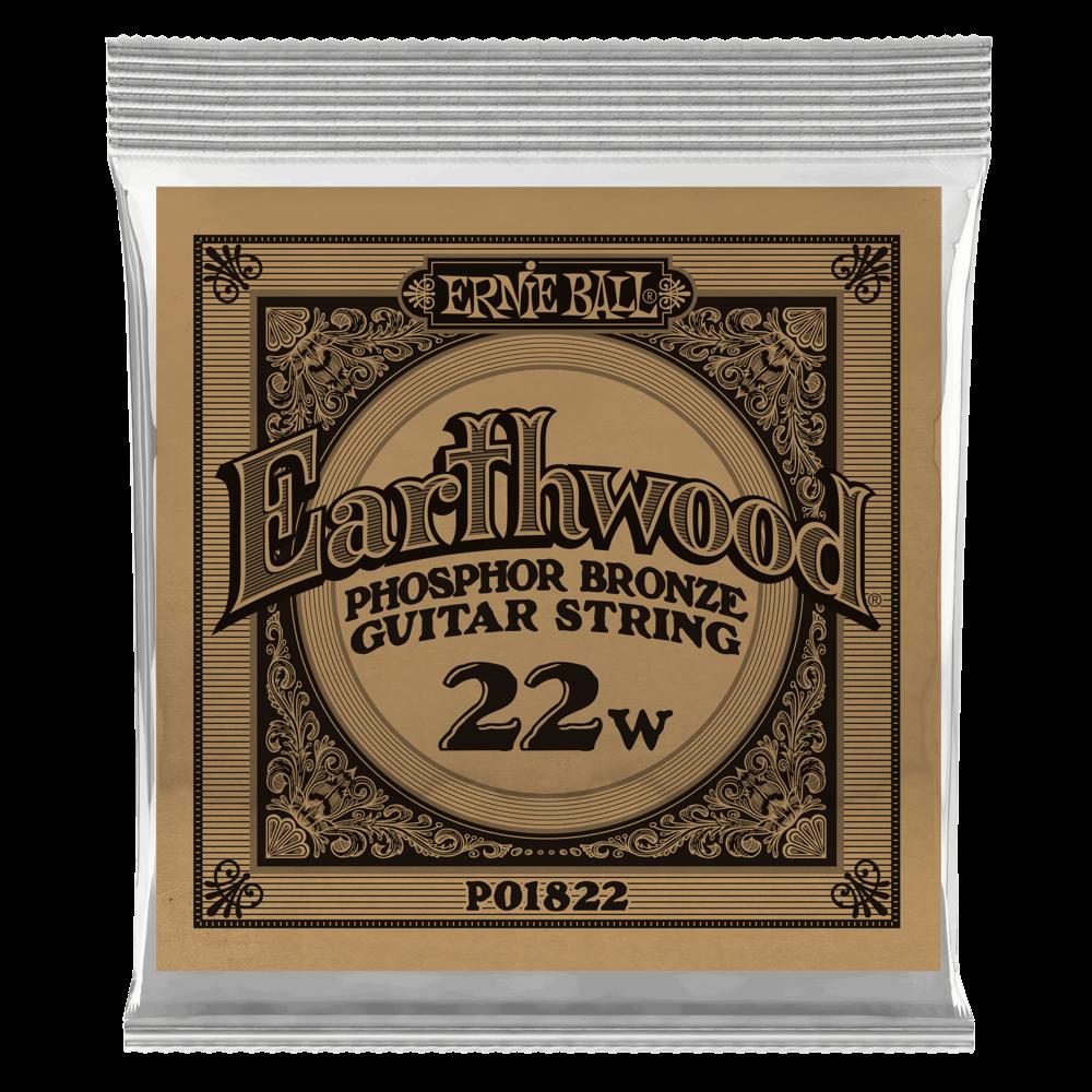 Ernie Ball .022 Earthwood Phosphor Bronze Acoustic Guitar Strings 6 Pack (1822)