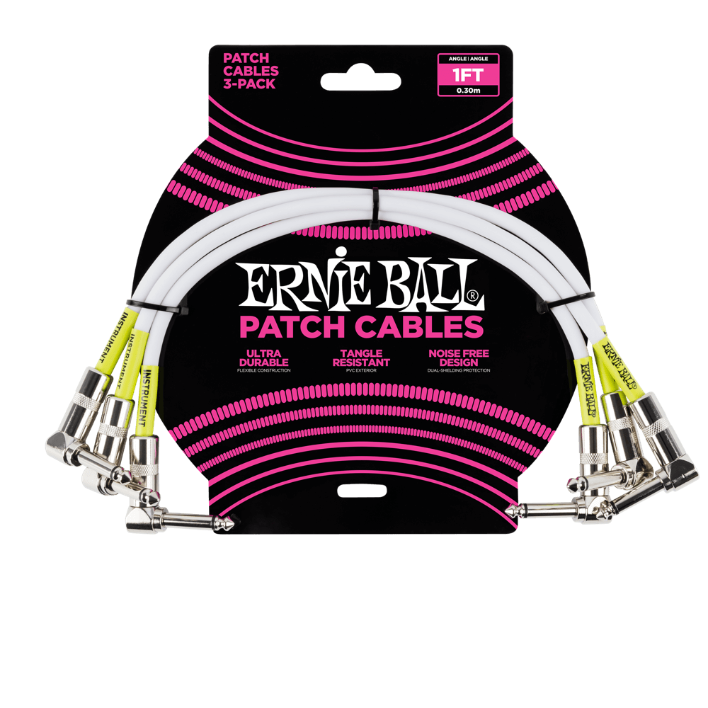 Ernie Ball 1 Patch Cable 3-Pack White