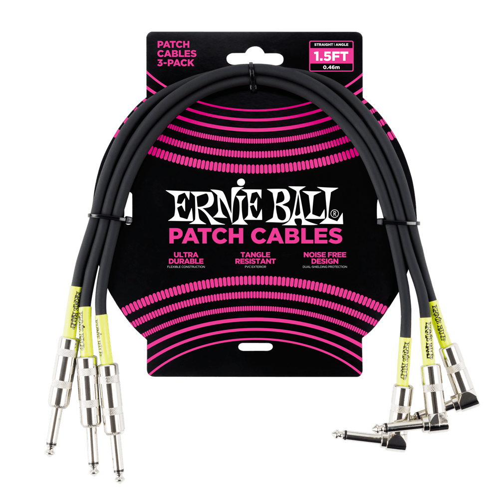 Ernie Ball 1.5 Patch Cable 3-Pack Black