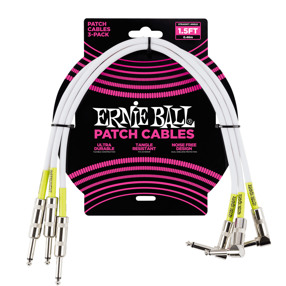 Ernie Ball 1.5 Patch Cable 3-Pack White