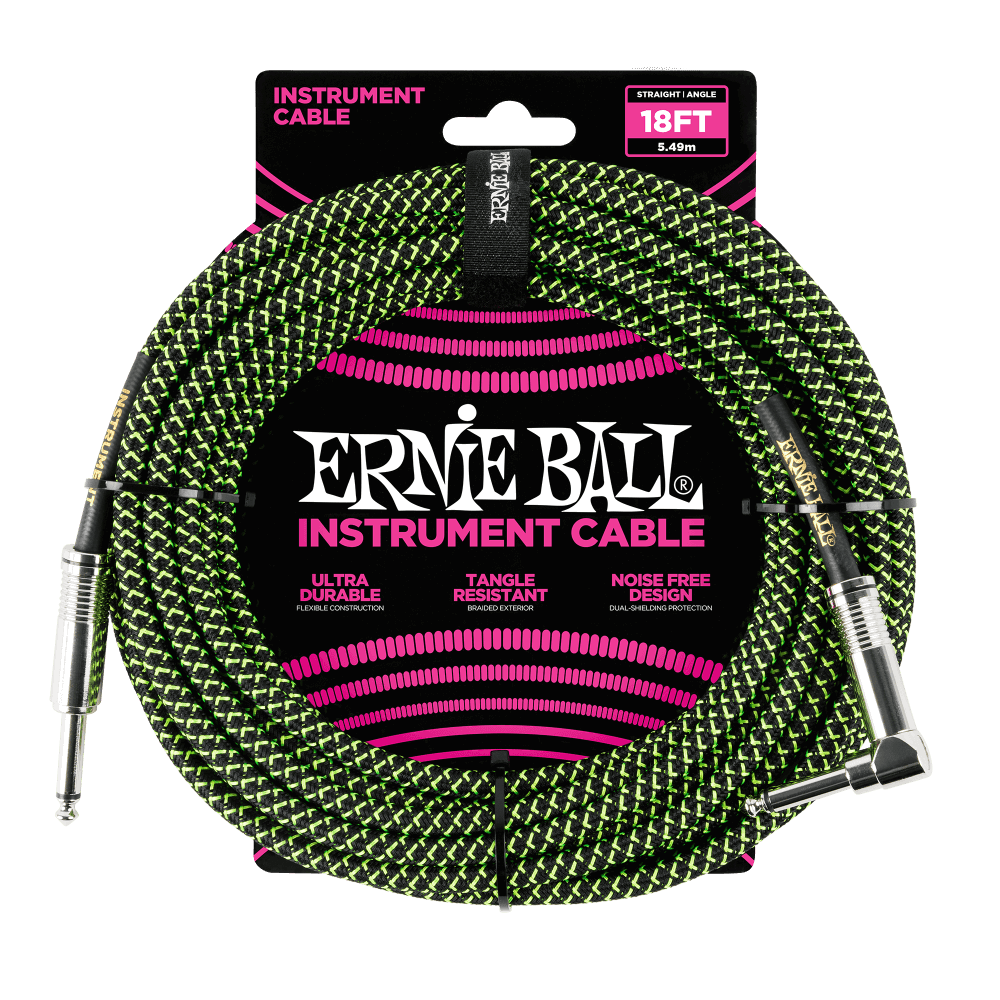 Ernie Ball 18 Braided Instrument Cable Black/Green