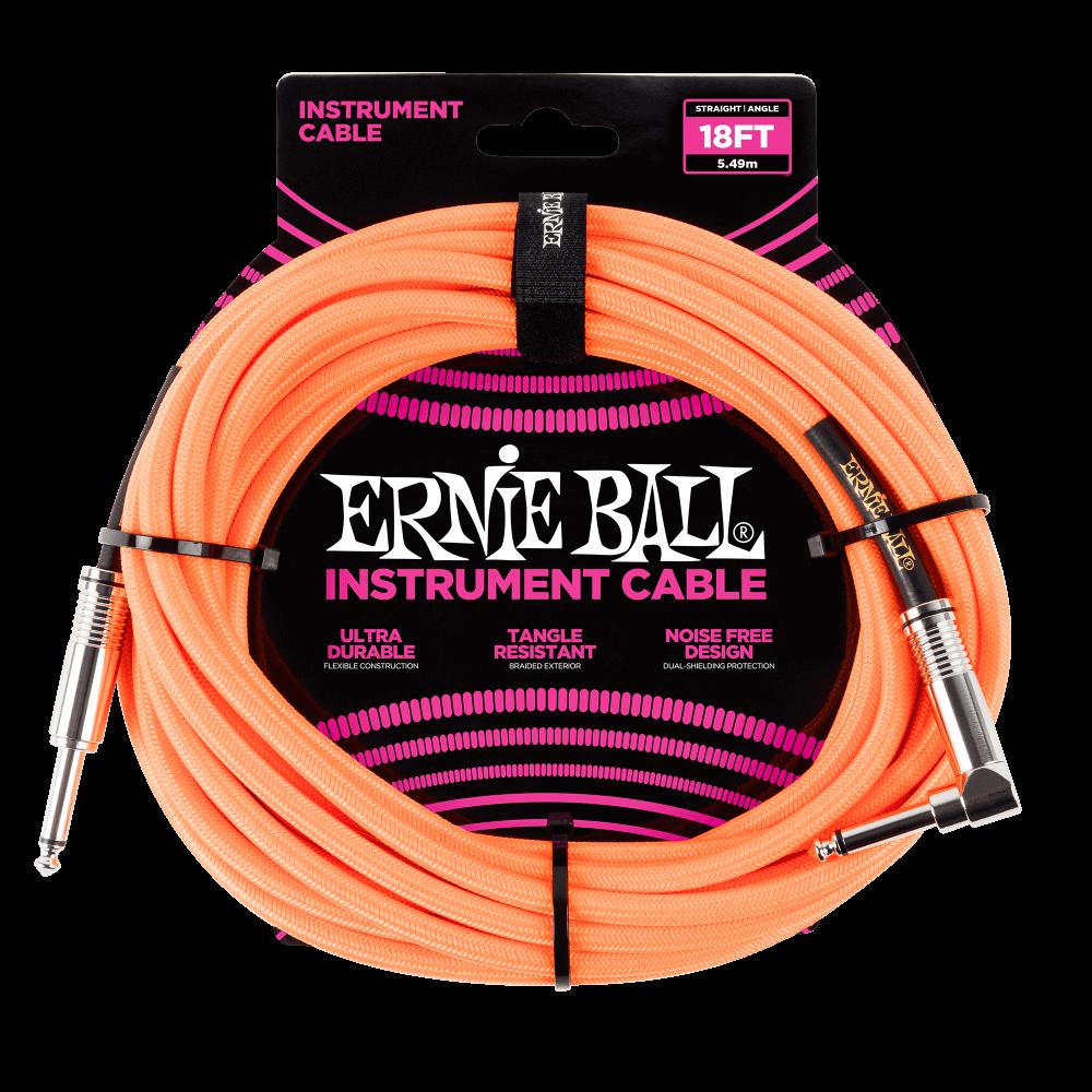 Ernie Ball 18 Braided Instrument Cable Neon Orange