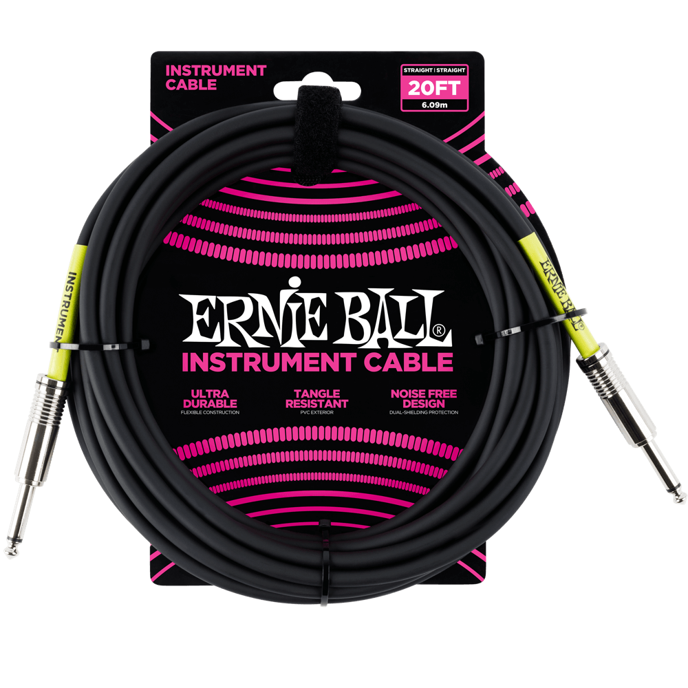 Ernie Ball 20 Instrument Cable Black