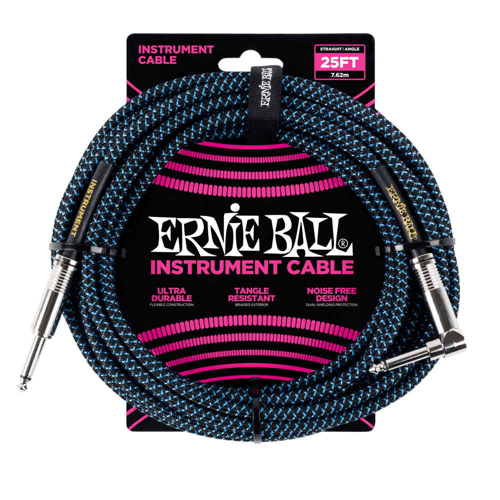 Ernie Ball 25 Braided Instrument Cable Black/Blue