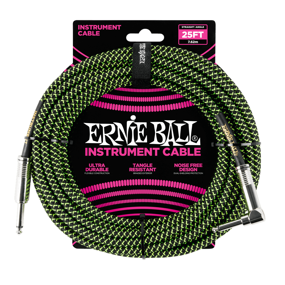 Ernie Ball 25 Braided Instrument Cable Black/Green