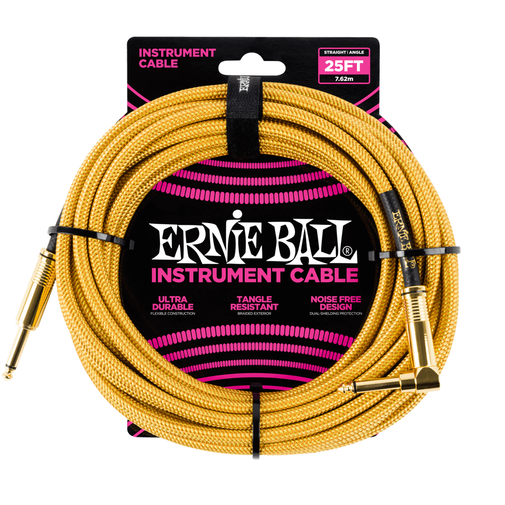 Ernie Ball 25 Braided Instrument Cable Gold