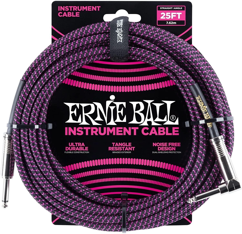 Ernie Ball 25 Braided Instrument Cables Black/Purple