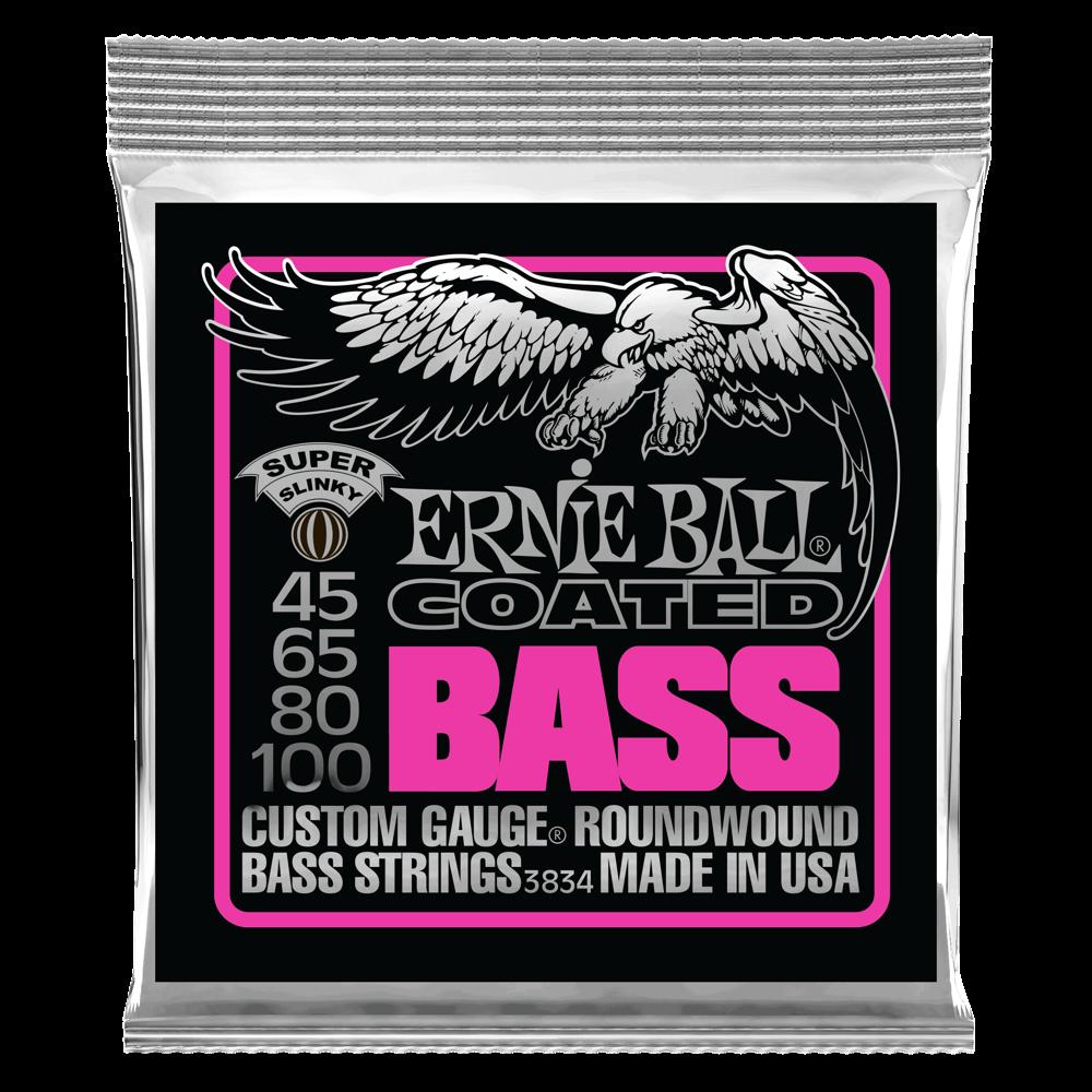 Ernie Ball P03834 Super Slinky Coated Electric Bass Strings 45-100 Gauge