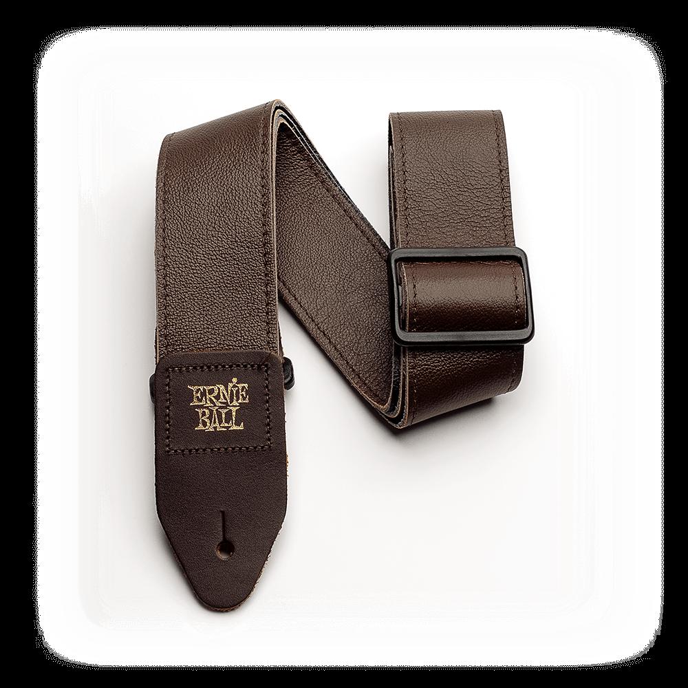 Ernie Ball P04135 2 Tri-Glide Italian Leather Strap Brown