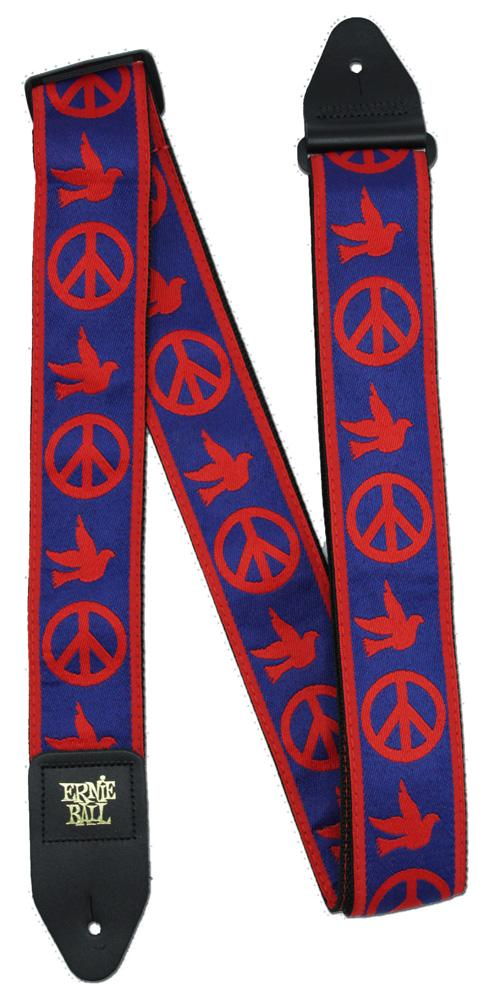 Ernie Ball P04698 Red and Blue Peace Love Dove Jacquard Guitar Strap
