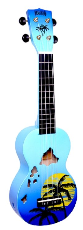 Mahalo Hawaii Soprano Ukulele Blue Burst
