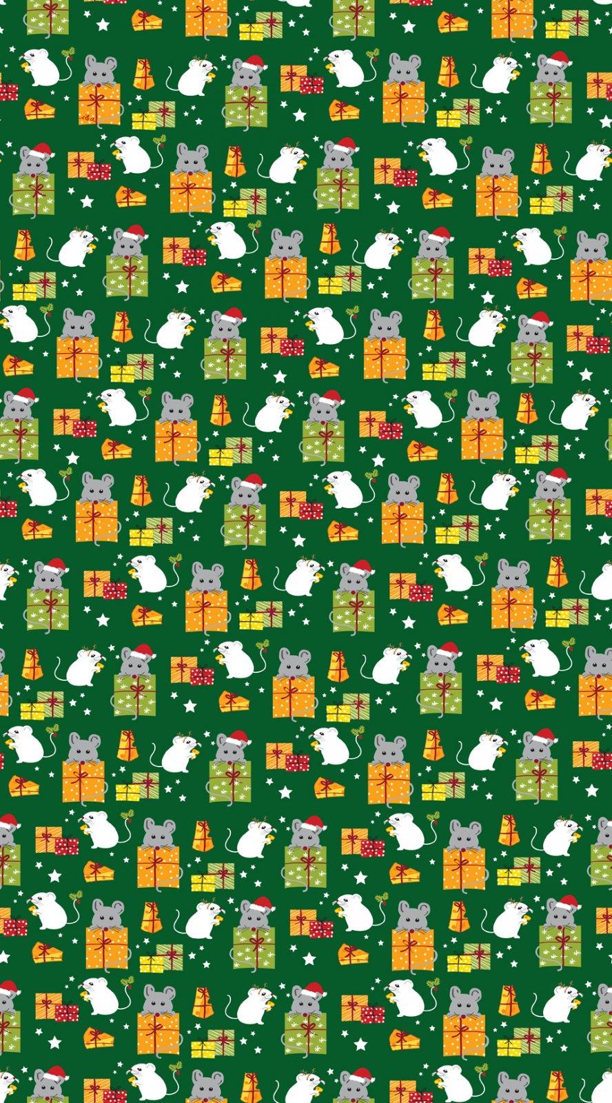 QT- Meowy Christmas (Mice & Gifts) Green