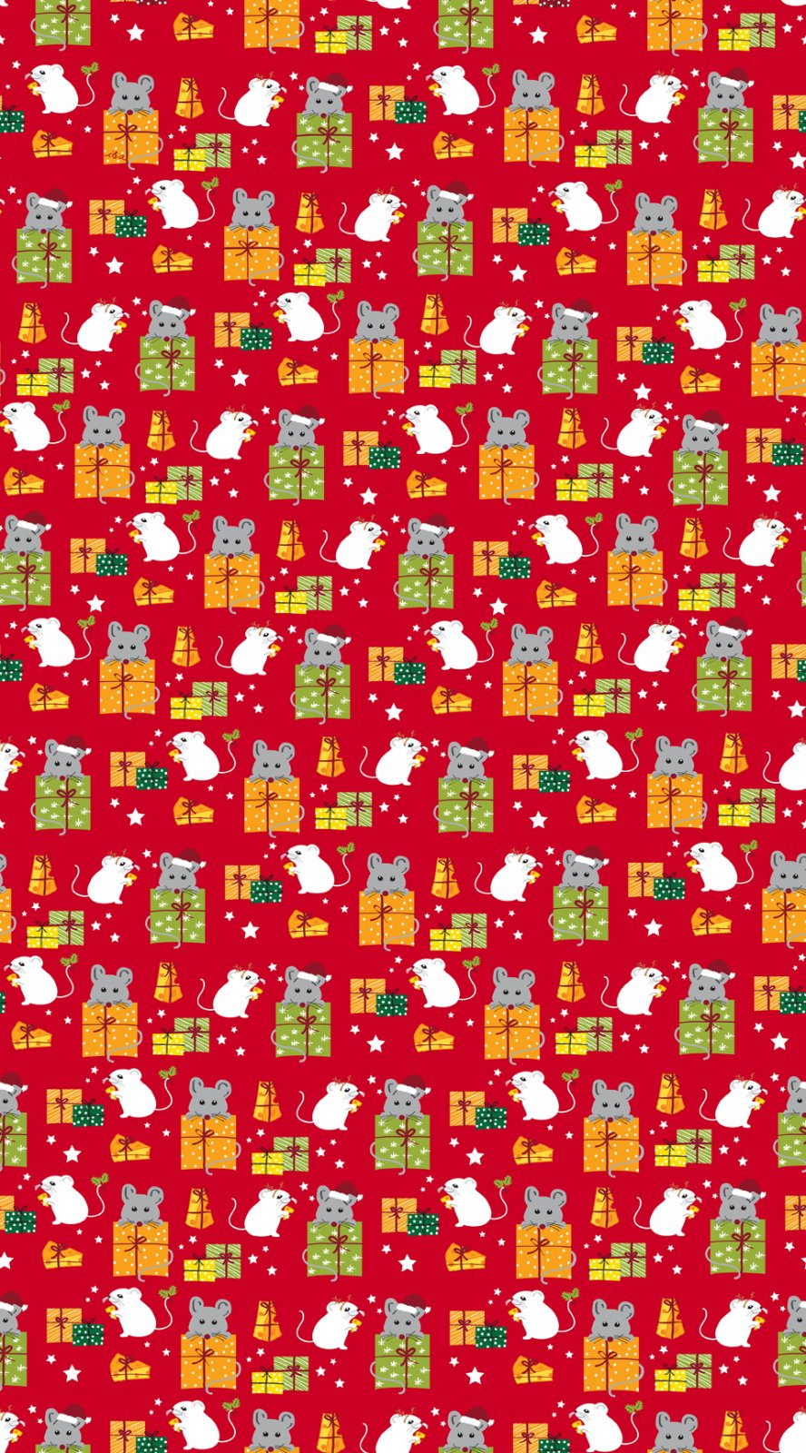QT- Meowy Christmas (Mice & Gifts) Red